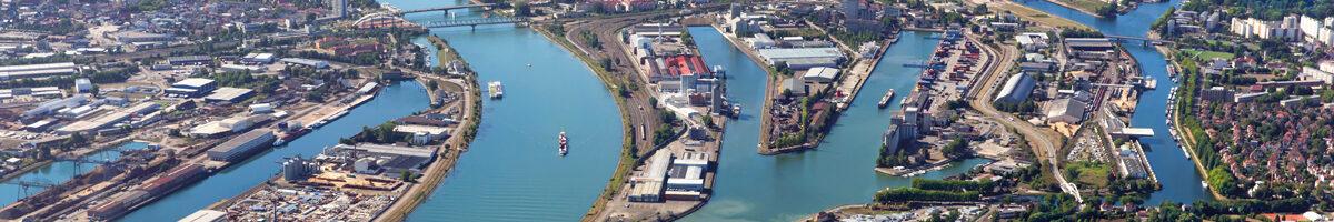 vue aérienne des Ports de Strasbourg